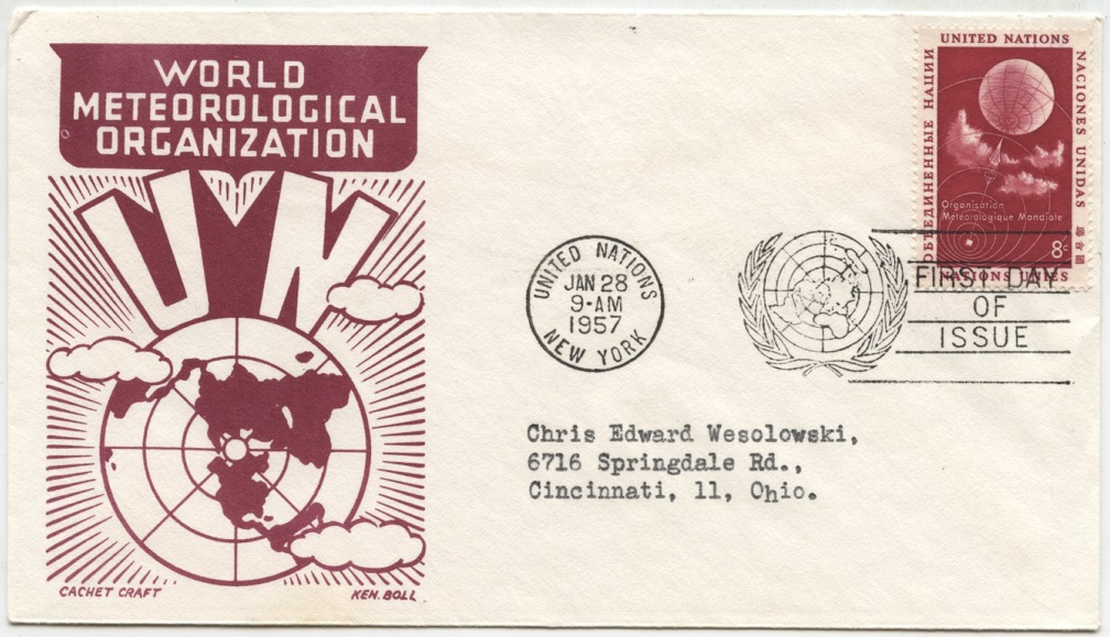 Scott 50 8 Cent United Nations World Meteorological Organization Stamp First Day Cover