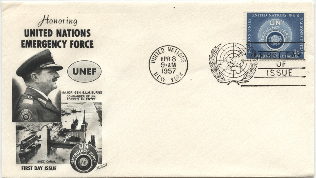 Scott 51 3 Cent United Nations Emergency Force Stamp First Day Cover