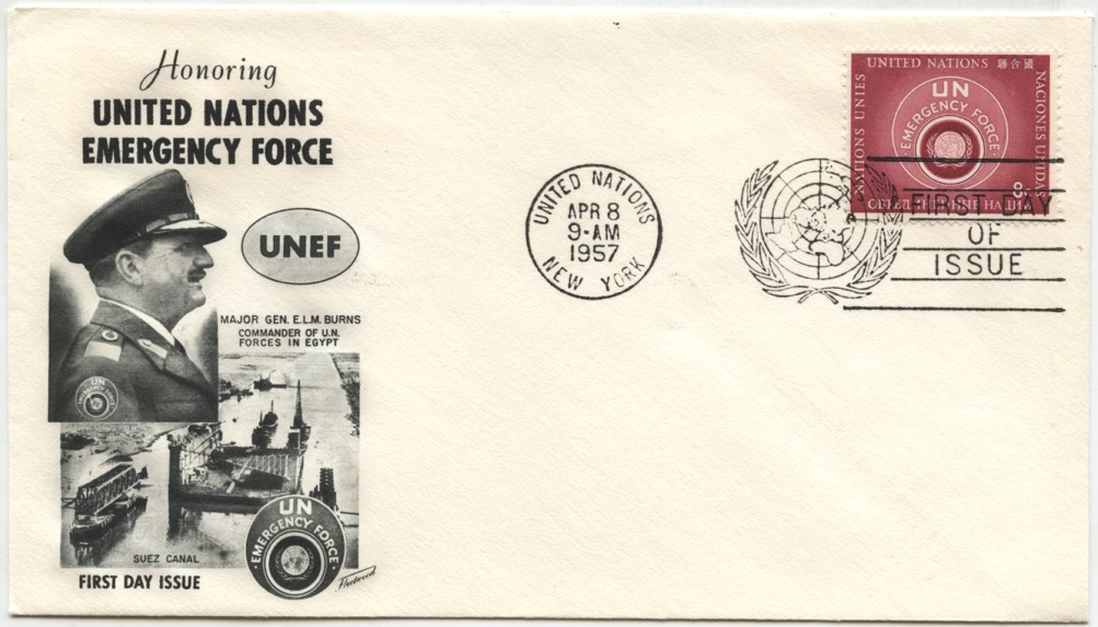 Scott 52 8 Cent United Nations Emergency Force Stamp First Day Cover