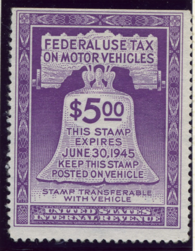 Scott RV30 $5 Dollar Motor Vehicle Use Tax Internal Revenue Stamp a