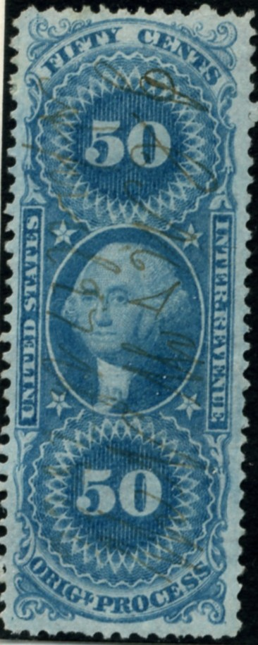 Scott R60 50 Cents Internal Revenue Stamp Original Process b
