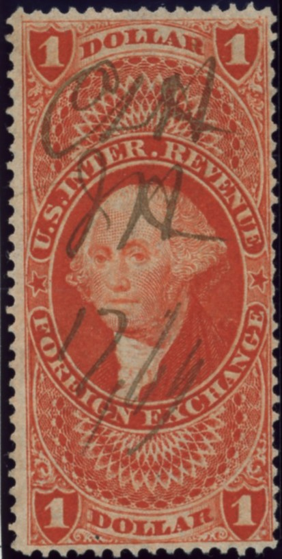 Scott R68 1 Dollar Internal Revenue Stamp Foreign Exchange a