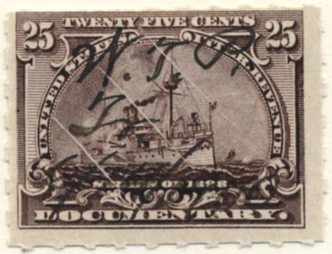 Scott R169 25 Cent Internal Revenue Documentary Stamp Watermarked USIR