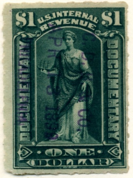 Scott R173 1 Dollar Internal Revenue Documentary Stamp Watermarked USIR b