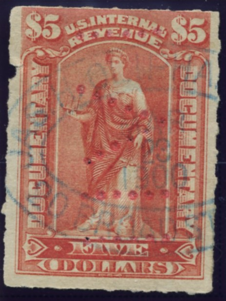 Scott R175 5 Dollar Internal Revenue Documentary Stamp Watermarked USIR