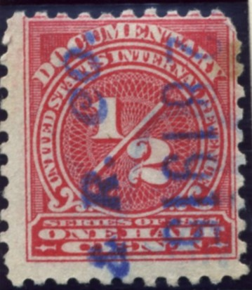 Scott R195 1/2 Cent Internal Revenue Documentary Stamp Watermarked USPS