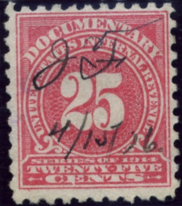 Scott R213 25 Cent Internal Revenue Documentary Stamp Watermarked USIR a