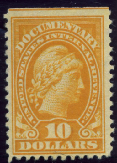 Scott R245 10 Dollar Internal Revenue Documentary Stamp Watermarked USIR a