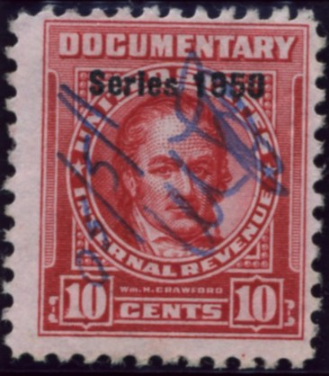 Scott R542 10 Cents Internal Revenue Documentary Stamp Watermarked USIR