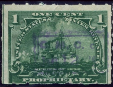 Scott RB24 1 Cent Internal Revenue Proprietary Stamp Watermarked USIR
