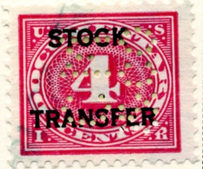 Scott RD3 4 Cent Internal Revenue Stock Transfer Documentary Stamp Watermarked USIR