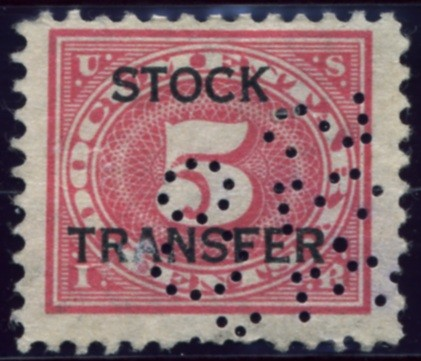 Scott RD4 5 Cent Internal Revenue Stock Transfer Documentary Stamp Watermarked USIR