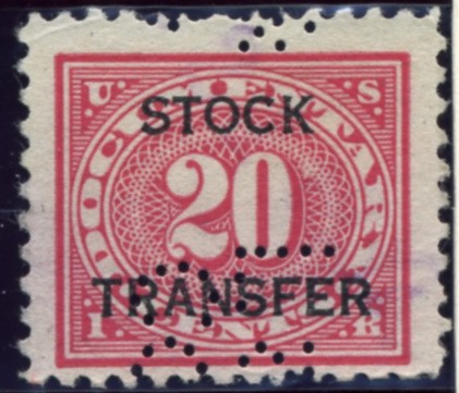 Scott RD6 20 Cent Internal Revenue Stock Transfer Documentary Stamp Watermarked USIR a