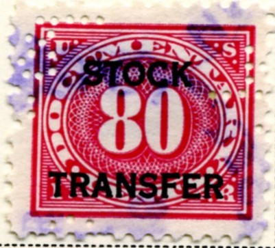 Scott RD10 80 Cent Internal Revenue Stock Transfer Documentary Stamp Watermarked USIR