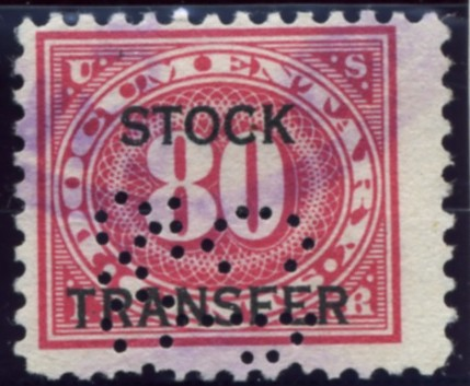 Scott RD10 80 Cent Internal Revenue Stock Transfer Documentary Stamp Watermarked USIR a