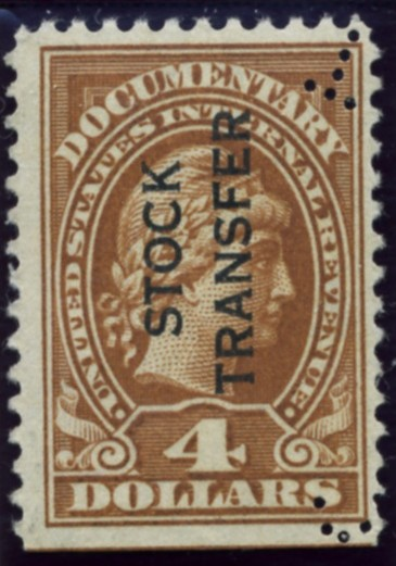 Scott RD15 4 Dollar Internal Revenue Stock Transfer Documentary Stamp Watermarked USIR