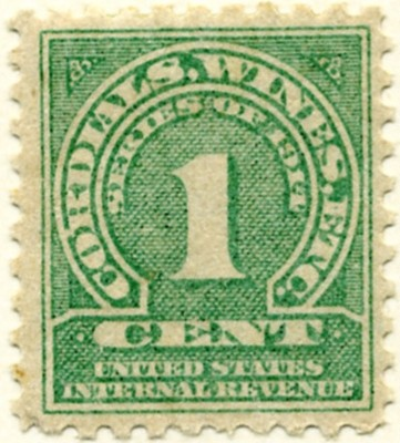 Scott 4157 1 Cent Internal Revenue Cordials Wines Etc Stamp