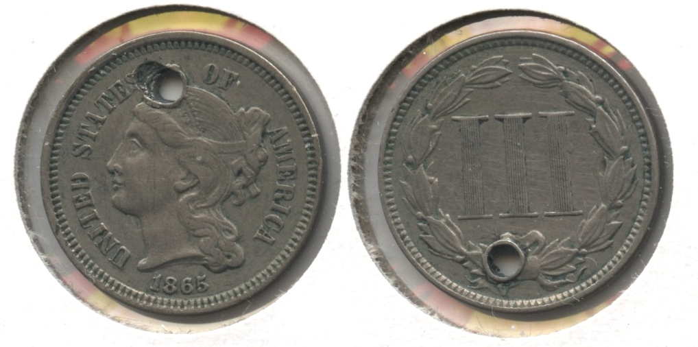 1865 Three Cent Nickel EF-40 #b Holed