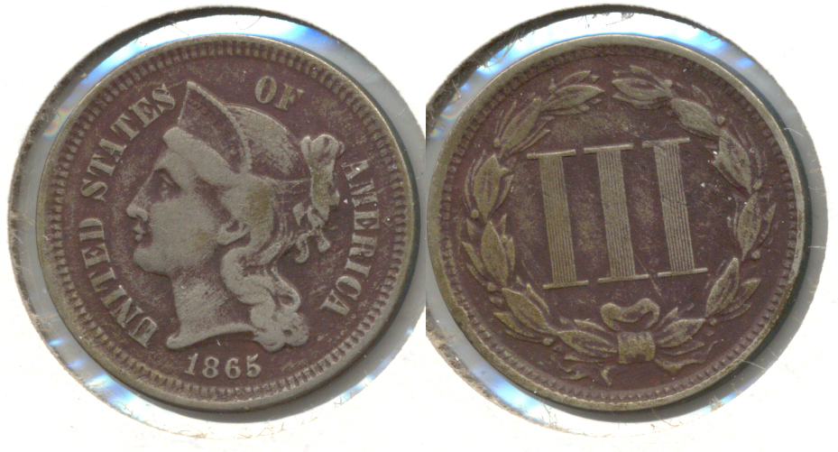 1865 Three Cent Nickel Fine-12 b Dark Fields