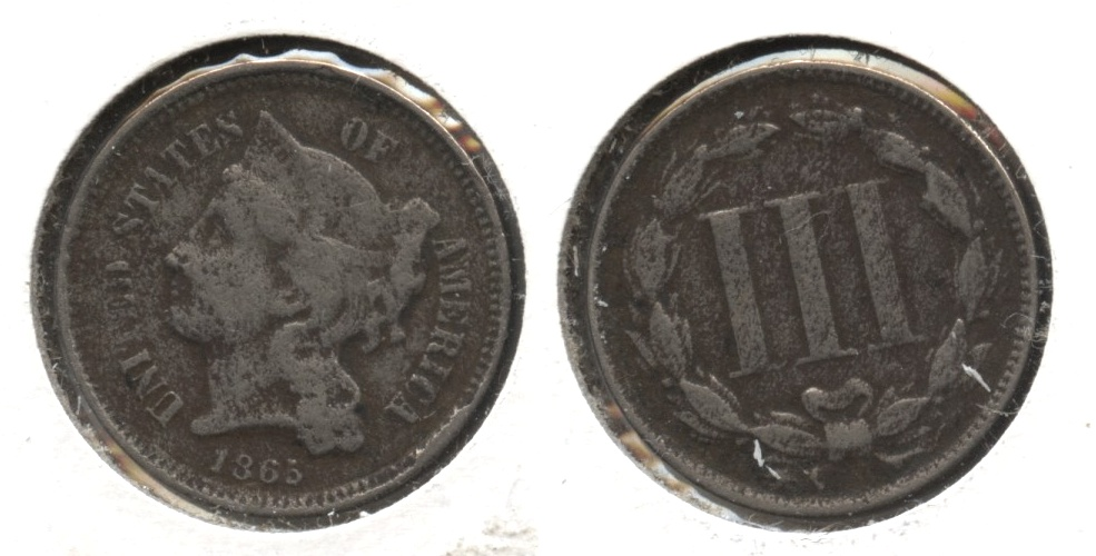 1865 Three Cent Nickel Fine-12 #u Porous