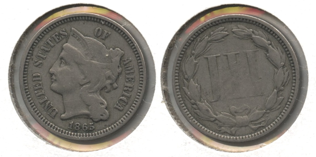 1865 Three Cent Nickel Fine-15 #b