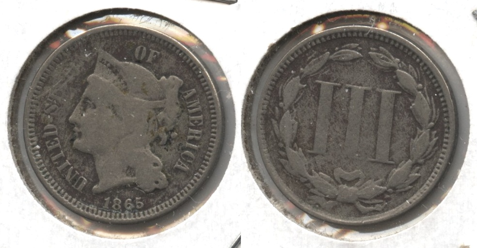 1865 Three Cent Nickel Good-4 #p