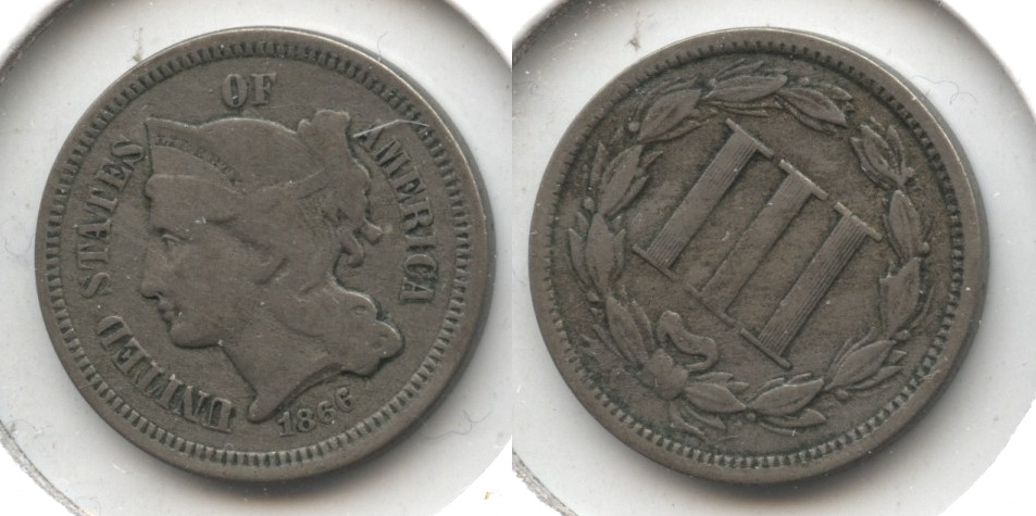 1866 Three Cent Nickel Fine-12 #i