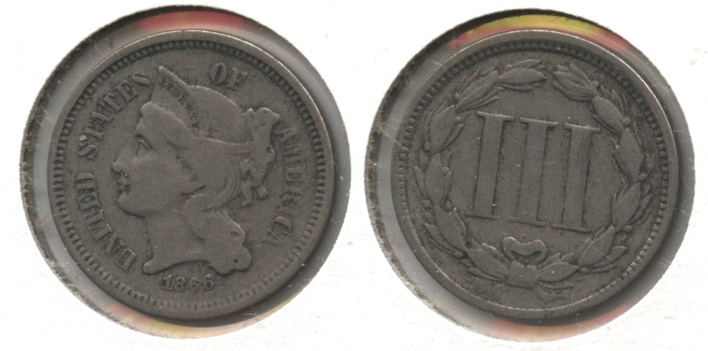 1866 Three Cent Nickel Fine-12 #k