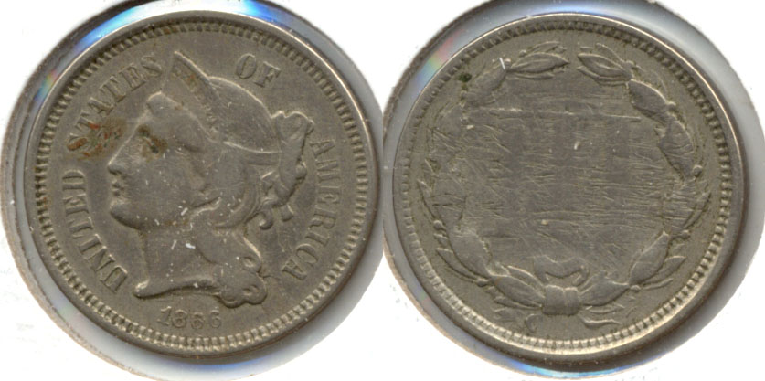 1866 Three Cent Nickel Good-4 a Reverse Scratches