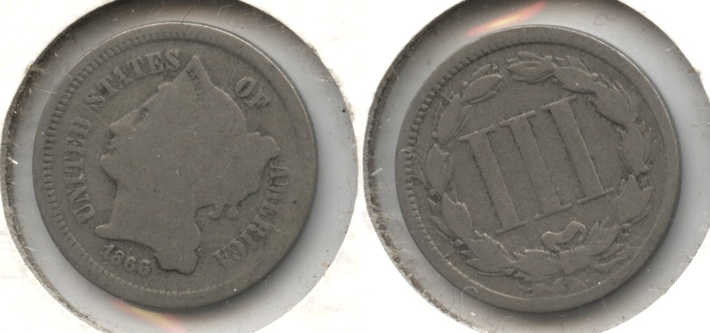1866 Three Cent Nickel Good-4 #e