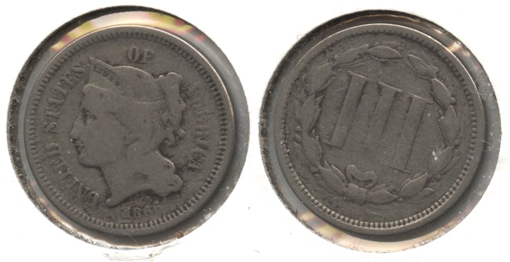 1866 Three Cent Nickel Good-4 #g