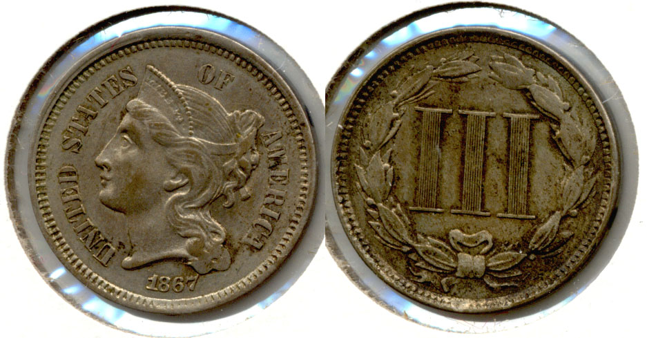 1867 Three Cent Nickel AU-50