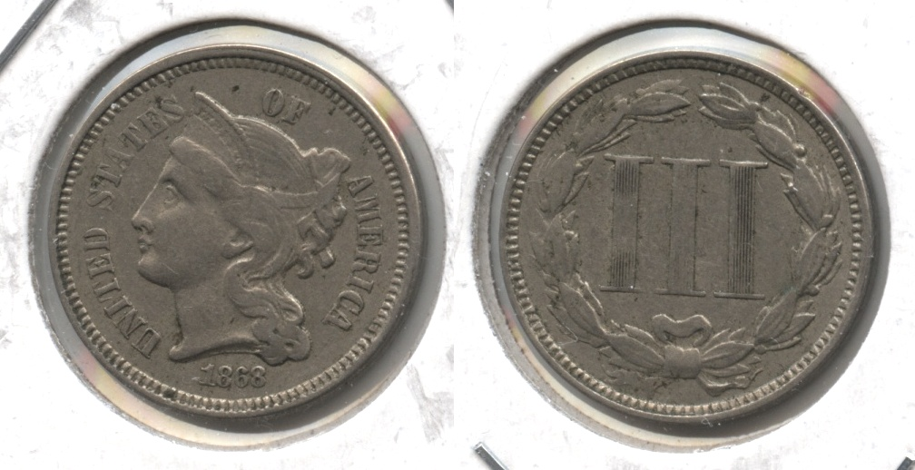 1868 Three Cent Nickel EF-40 #a