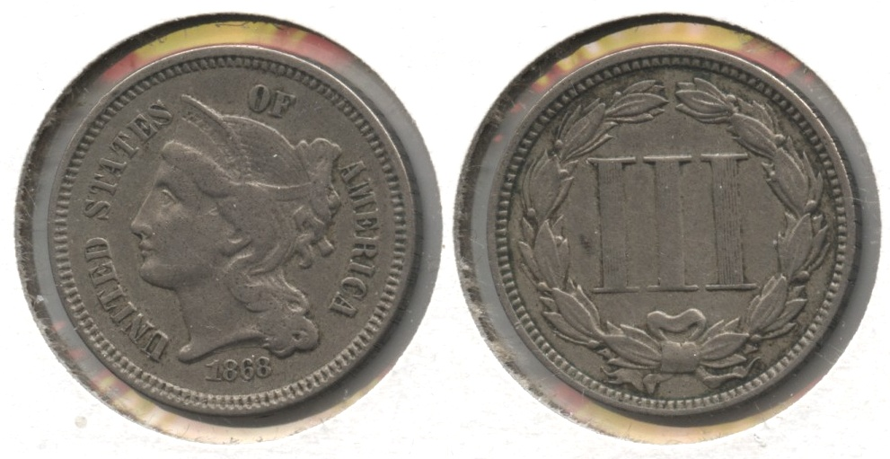 1868 Three Cent Nickel VF-20 #a Reeded Edge