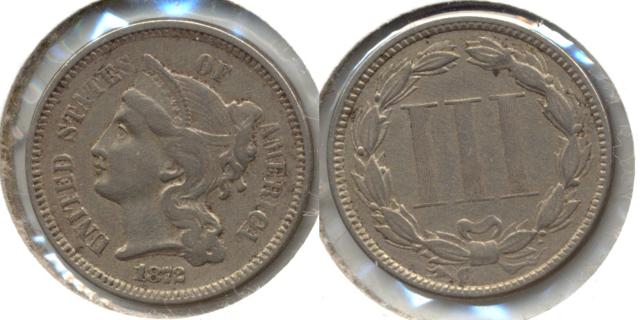 1872 Three Cent Nickel EF-40