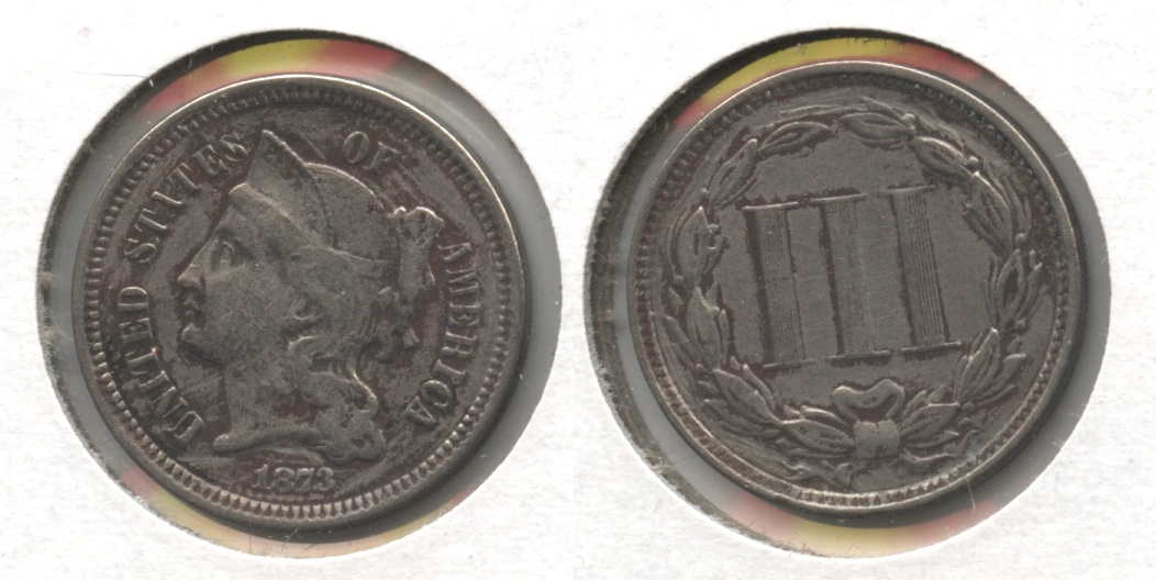 1873 Three Cent Nickel VF-20 #b Open 3 Cleaned