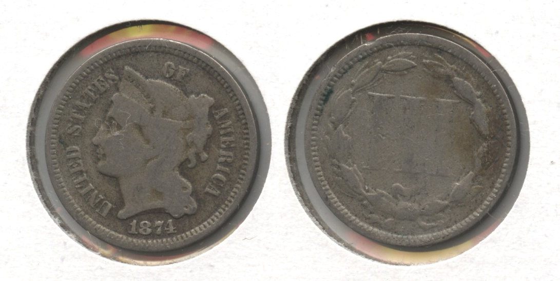 1874 Three Cent Nickel Good-4