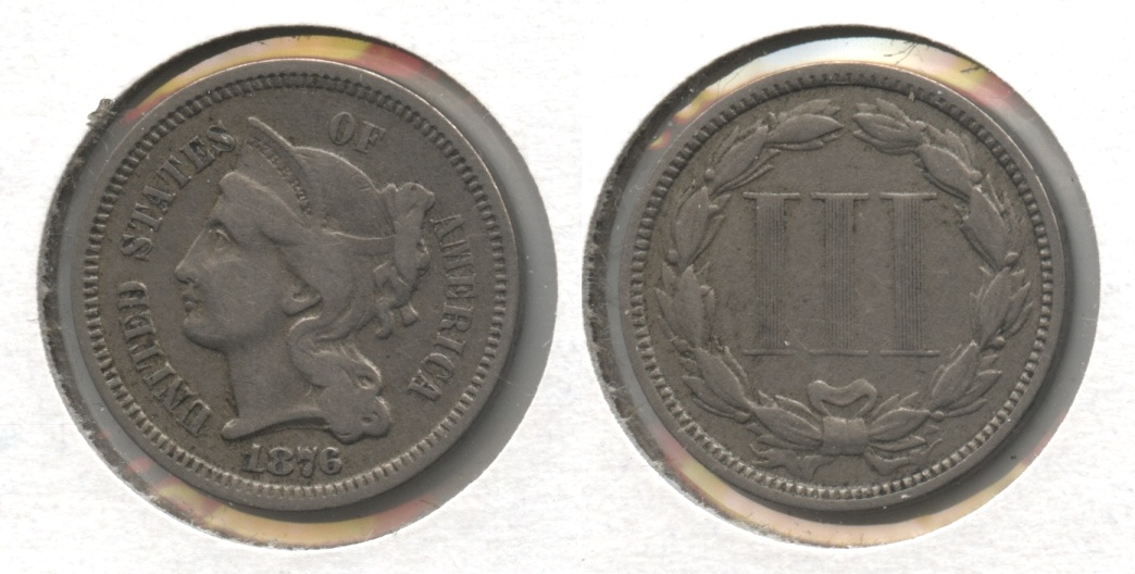1876 Three Cent Nickel Fine-12 #a