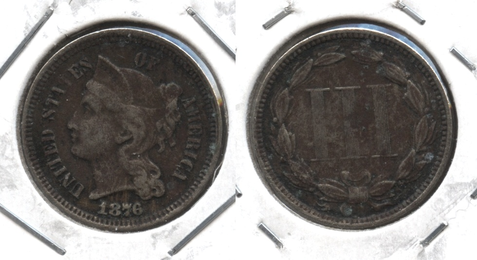1876 Three Cent Nickel VF-20 Corroded