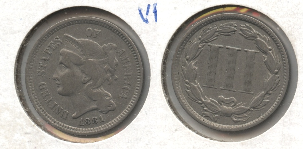 1881 Three Cent Nickel Fine-12 #a