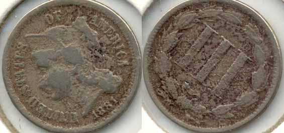 1881 Three Cent Nickel Good-4 Porous