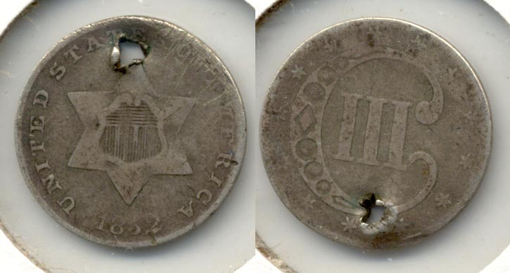 1852 Three Cent Silver F-12 Holed