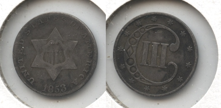 1853 Three Cent Silver F-12 #e