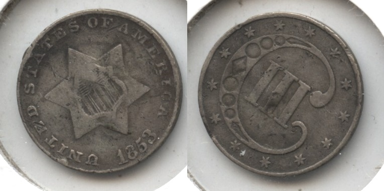 1853 Three Cent Silver VG-10 Rim Bump