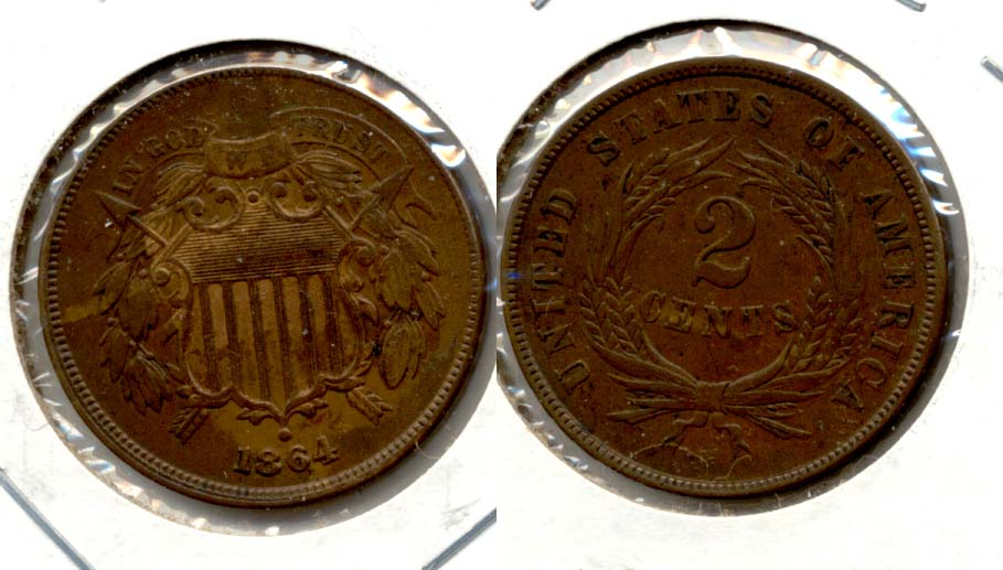 1864 Large Motto Two Cent Piece EF-40