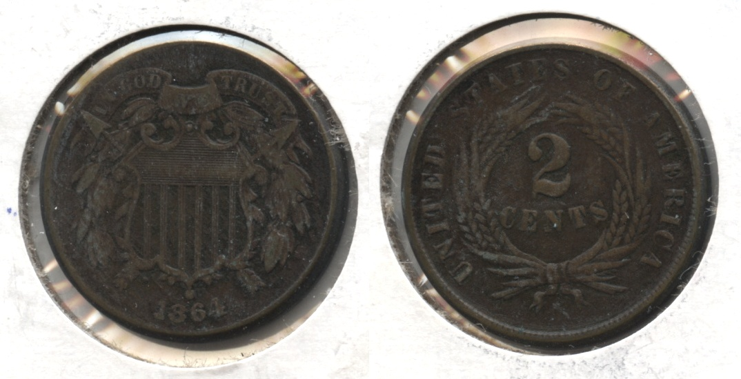 1864 Large Motto Two Cent Piece EF-40 #d Bit Dark