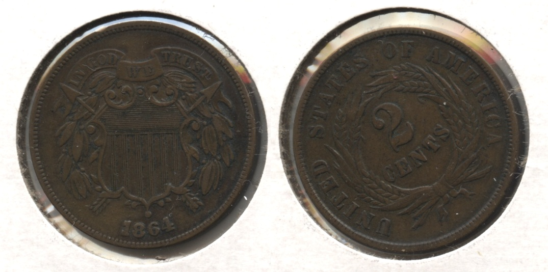 1864 Large Motto Two Cent Piece EF-40 #e