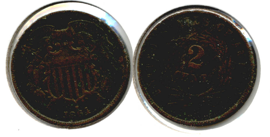 1864 Large Motto Two Cent Piece Fine-12 a Dark