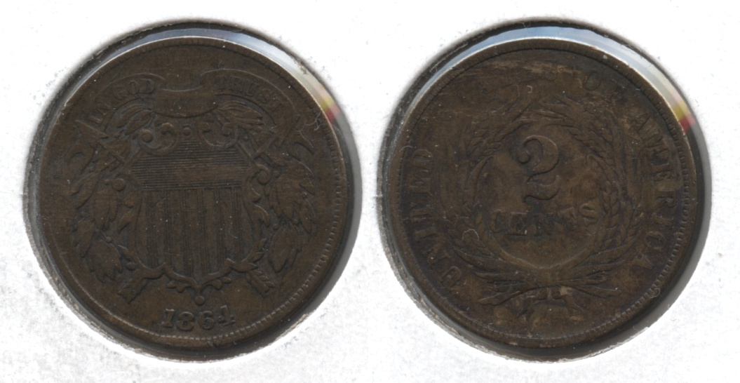 1864 Large Motto Two Cent Piece Fine-12 #k