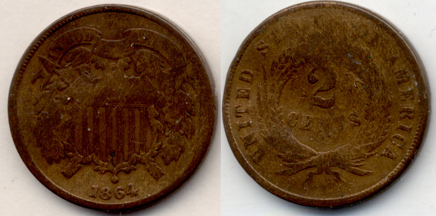 1864 Large Motto Two Cent Piece Good-4 j